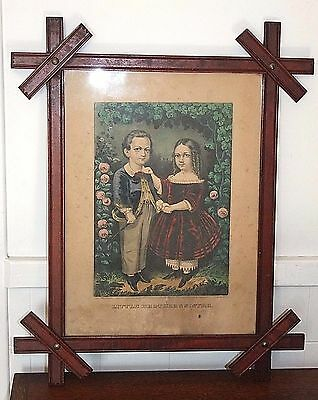 Ex 19th C Arts & Crafts Picture Frame w/Original 1863 Currier & Ives 12x16 Print
