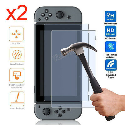 Premium Real Tempered Glass Film Screen Protector Cover for Nintendo Switch 2017