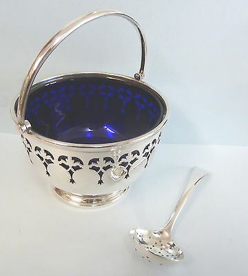 PIERCED Solid Silver Sugar Bowl & Sifting Spoon MAPPIN & WEBB Sheffield 1958/9