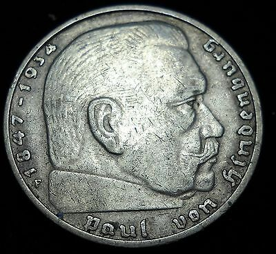 Nazi Germany 1937F 2 Reichsmarks Silver Coin. Third Reich. Swastika. Mark. #