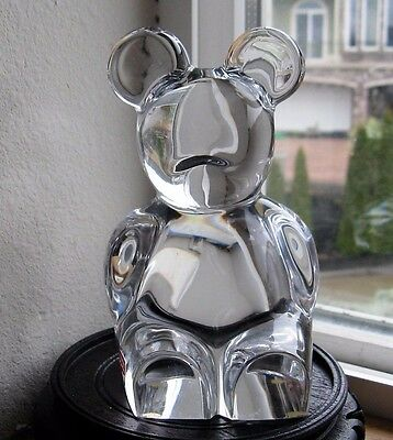 Orrefors Hand Blown, Etched Signed Glass Bear Figurine, PaperWeight