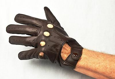 Small New  Leather Mens Driving Gloves Brown