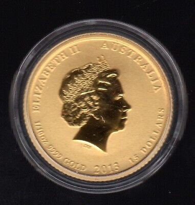 2013 Australia Elizabeth Ii 15 Dollars 1/10 Oz 9999 Colored Gold Proof Coin !!!