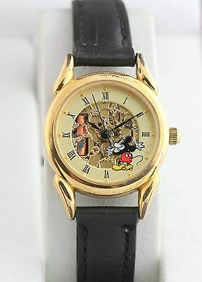 Vintage Disney Mickey Mouse Skeleton Watch Time Works Quartz Leather Band Rare