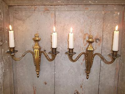 French a pair of gold patina bronze wall candle holders beautiful vintage