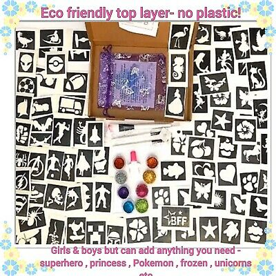GLITTER TATTOO KIT GIRLS  BOYS  94 Lge stencils OR ALL GIRLS or ALL BOYS tell us