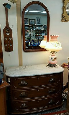 Antique Victorian Carved Walnut Marble Top Dresser Chest of Drawers with Mirror