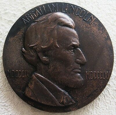 1909 Bronze Centenary Of Birth Of Abraham Lincoln Commemorative 67 Mm Medal