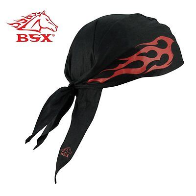 Revco BC5D-BK BSX FR Doo Rag Black Red Flames & Logo One Size
