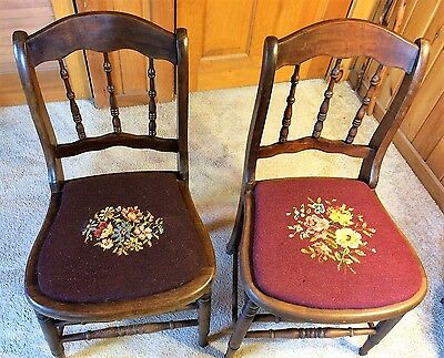 Pair of Antique Wood Dining Chair Needlepoint Seats