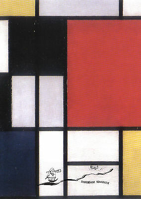 Kunstpostkarte -  Piet Mondrian: Composition with large red plane, yellow, black