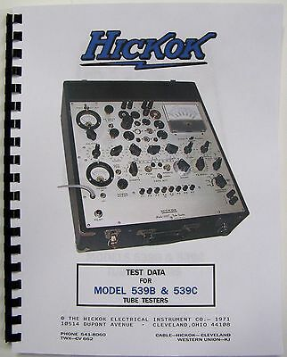 *USA* 1971 HICKOK 539b 539c TEST DATA,  ALL THE DATA THERE IS, WITH W.E. DATA