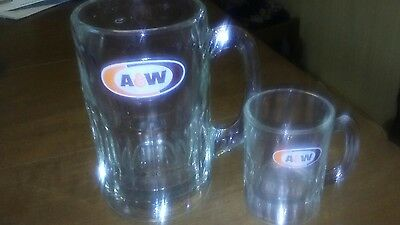 Vintage 1968 A&w Root Beer Mugs Large And Small