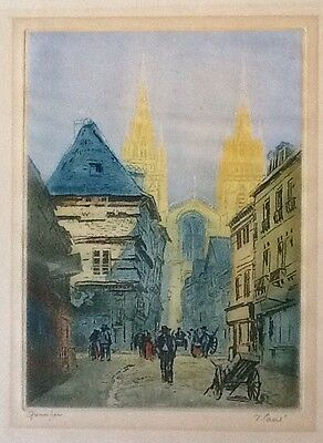 Vintage colored etching QUIMPER signed in pencil illegibly