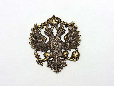 Superb Brass Casting Russian Imperial Double Headed Eagle Romanov Coat of Arms