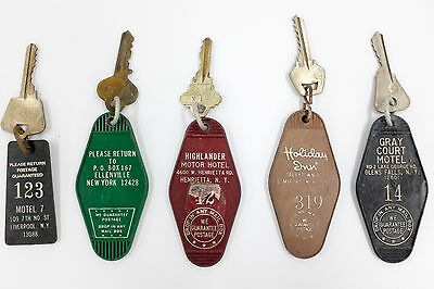 Set of 5 Vintage New York Motel Keys 1960s 1970s Collectible Americana