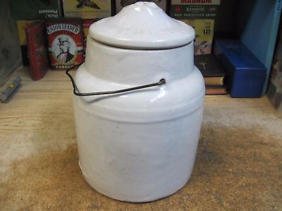Crock Stone Wear Canning Jar Antique Original 1800's Fruit With Lid Wire Bail