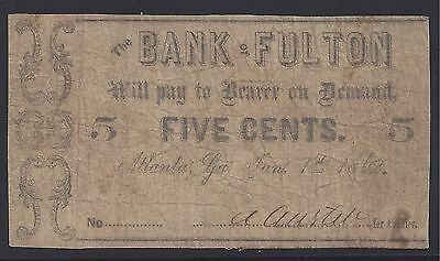 The Bank of Fulton (Atlanta, Ga) 5c Fractional Note 1862