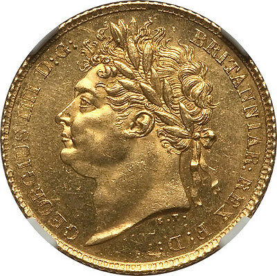 Great Britain 1825 George IV Gold Half Sovereign NGC MS-62