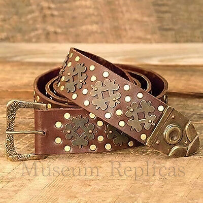 """Museum Replicas Thick Heavy-Duty Leather + Brass Medieval 70"""" Knights Belt SCA"""