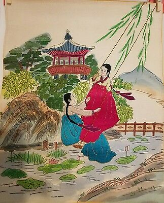 Korean Original Embroidery- by handmade (two girls who are swing)