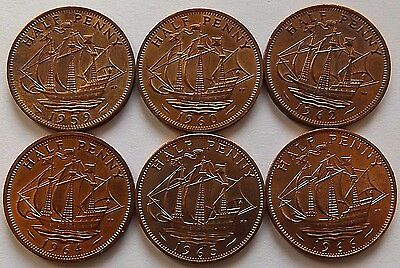 6 Different (1959-1966) Great Britain Bu Half Pennies! Bu Beauties!