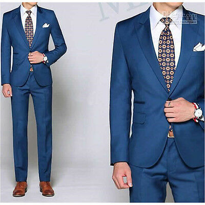 Custom Made Groomsmen Suits Peaked Lapel Blue Men Wedding Suits Fashion men suit
