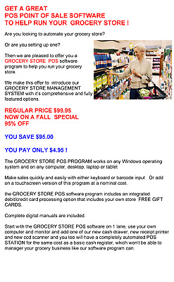Pos Point Of Sale Software To Help Run Your Grocery Store !  Only $4.95