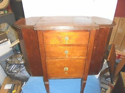vintage wooden 3 drawer sewing cabinet martha washington style design stand