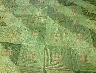 Antique 1900's Quilt Log Cabin Square Pattern Furrows Hand Stitched Top Colorado