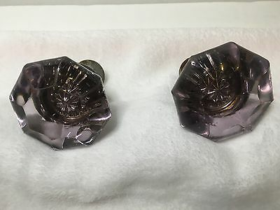 Antique Glass & Brass Amethyst Pale Purple Doorknobs Door Knobs
