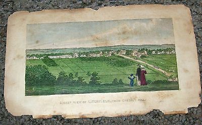 Antique Birds-Eye Picture Map of Litchfield-Connecticut From Chestnut Hill-LOOK!