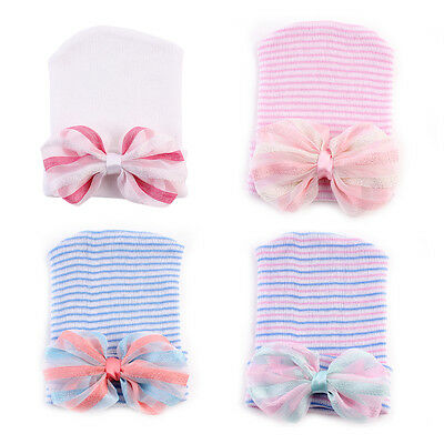 Cute Newborn Baby Infant Girls Toddler Bow Soft Hospital Cap Beanie Flower Hat