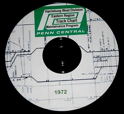 Penn Central 1972 Harrisburg West Div Track Chart PDF Pages on DVD - New Listing