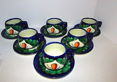Mexican Pottery Talavera Tea Cups Saucers Set of 6 Hand Painted Signed
