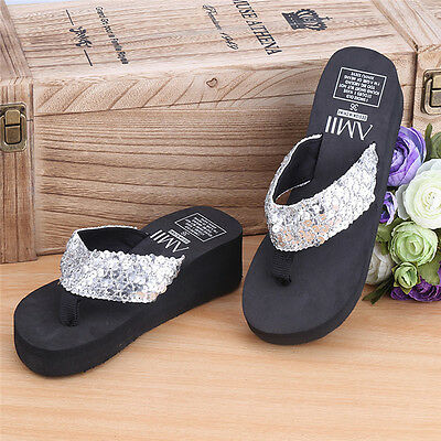 Summer Soft Women Wedge Sandals Sequin Thong Flip Flops Platform Slippers New