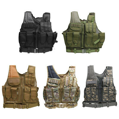 Tactical Military Vest SWAT Molle Assault Combat Gear Police Hunting Holster