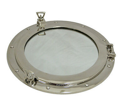 "Brass Window Porthole~Cabin Boat Porthole~12"" Chrome Plated Nautical Porthole"