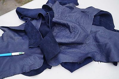 Dark Blue upholstery cowhide leather scrap pieces/off-cuts 2-3 hands