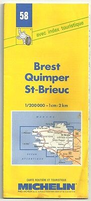 "Card Tourist Michelin "" Brest, Quimper, St-Brieuc ""1/200000 - No.58"