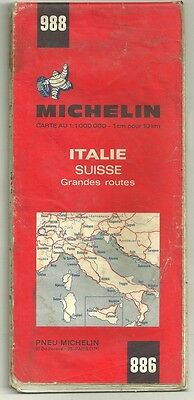 Card Tourist Michelin 1/1000 000 Italy Switzerland No.988