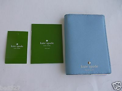 KATE SPADE Mikas Pond Leather Passport Holder Wallet Cover Artic Sky  NWT