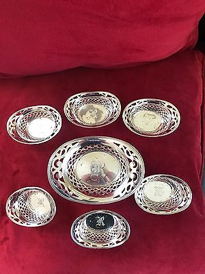 "Reed And Barton Antique Sterling Silver Nut Dishes Set of 6 Monogram ""R"""