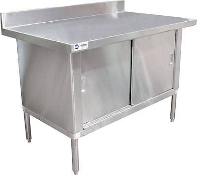 "Stainless Steel Work Prep Table Cabinet 30"" x 60"" W/ 3"" Overhangs, 4"" Backsplash"