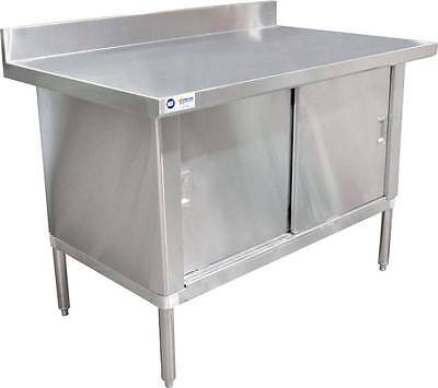 "Stainless Steel Work Prep Table Cabinet 30"" x 72"" W/ 3"" Overhangs, 4"" Backsplash"
