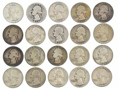 Lot Of 20 Individual 90% Silver U.S. Quarters Mixed Mints & Dates SEE HD PHOTOS
