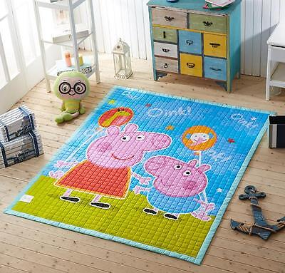 Kid Baby Children Pepper Pig Non-slip Cotton Quilted Play Mat Floor Rug Carpet A