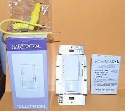 Lutron MSCL-VP153M-WH Maestro CL Single-Pole/Multi-Location Vacancy Sensing