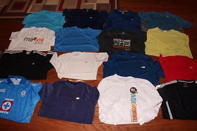 Lot Of 16 Adult Mens Athletic Tees Gym Shirts Reebok Nike Adidas Champion All Xl