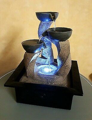 Rock Water Fountain With LED Light - Indoor Water Feature - 3 Cups 240v Mains